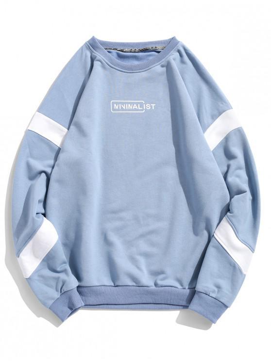online Drop Shoulder Stripe Trim Graphic Sweatshirt - DEEP SKY BLUE 2XL
