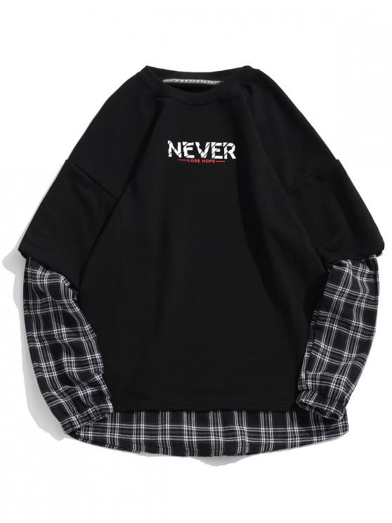 outfit Plaid Print Drop Shoulder Faux Twinset Slogan Sweatshirt - BLACK 2XL