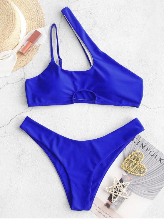 trendy ZAFUL Cutout One Shoulder High Leg Bikini Swimsuit - BLUEBERRY BLUE L
