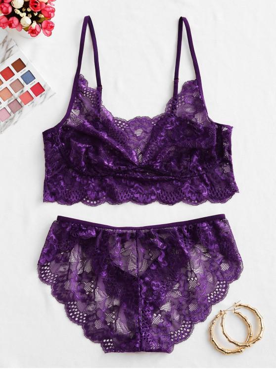 sale Tie Cutout Lace Bra Set - PURPLE IRIS XL
