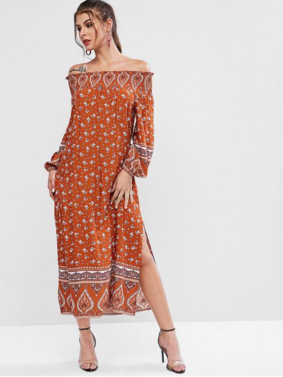 outfit ZAFUL Long Sleeve Floral Off Shoulder Slit Dress - MULTI-A M