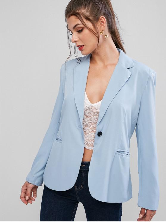 womens One Button Lapel Plain Blazer - BLUE S