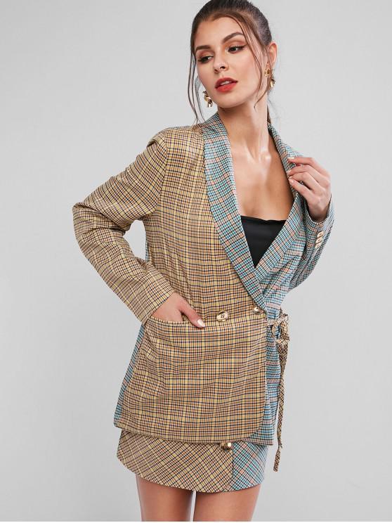 sale Plaid Color Block Pocket Longline Blazer - MULTI-A S