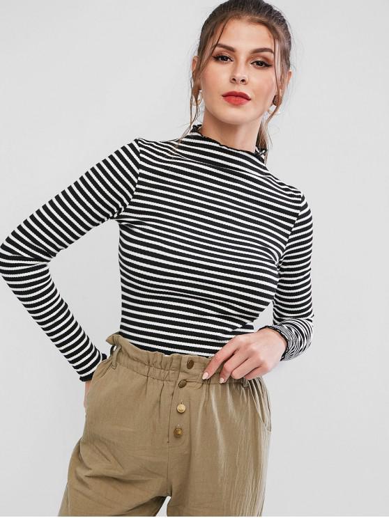 buy ZAFUL Mock Neck Ribbed Stripes Tee - BLACK L