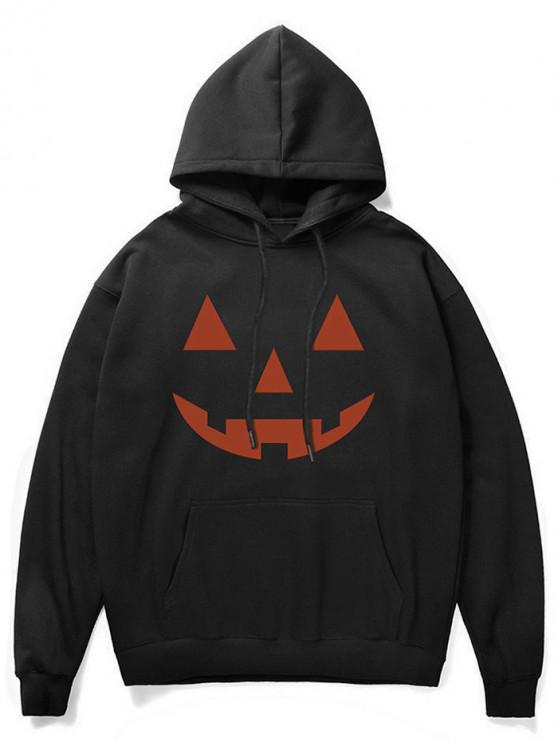 Sudadera con capucha de felpa de bolsillo con estampado de calabaza de Halloween - Negro XS