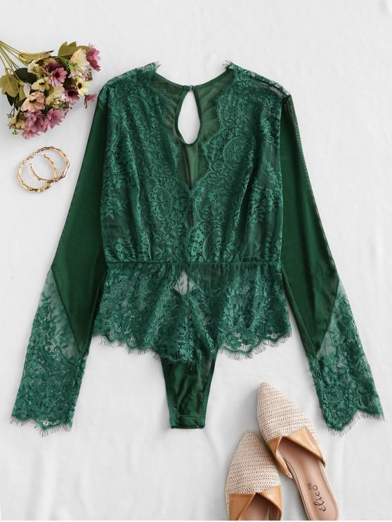 womens Lace and Mesh Long Sleeve Teddy - SEA TURTLE GREEN L