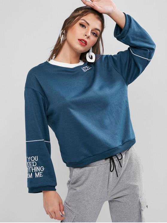 unique Slogan Embroidered French Terry Drop Shoulder Sweatshirt - COBALT BLUE ONE SIZE