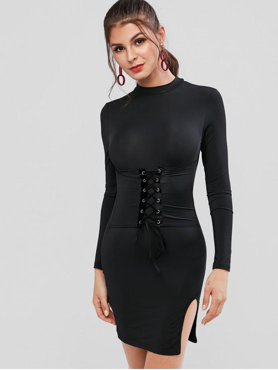 lady Long Sleeve Lace Up Slit Bodycon Dress - BLACK L