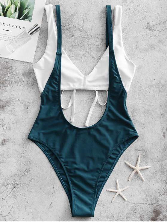 outfits ZAFUL Colorblock Padded Suspender Bikini Swimsuit - PEACOCK BLUE S