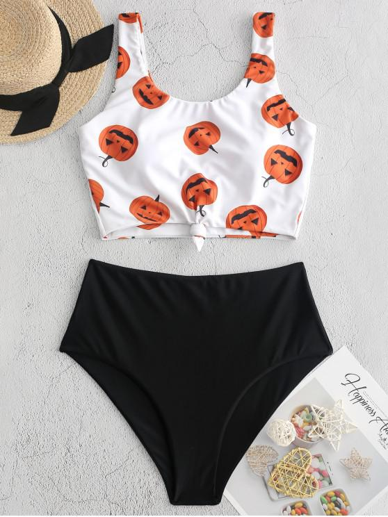 best ZAFUL Halloween Pumpkin Print Knot Tankini Swimsuit - BLACK S