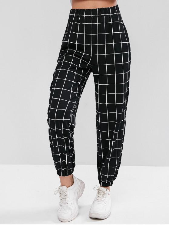 hot High Waist Plaid Jogger Pants - BLACK M