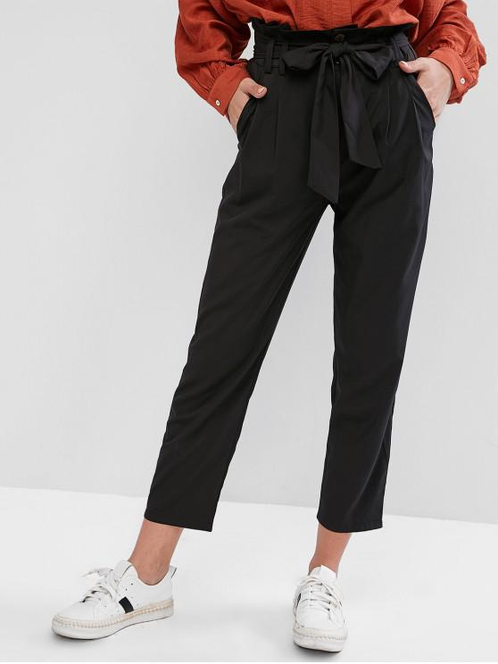 unique Belted High Waisted Straight Pants - BLACK M