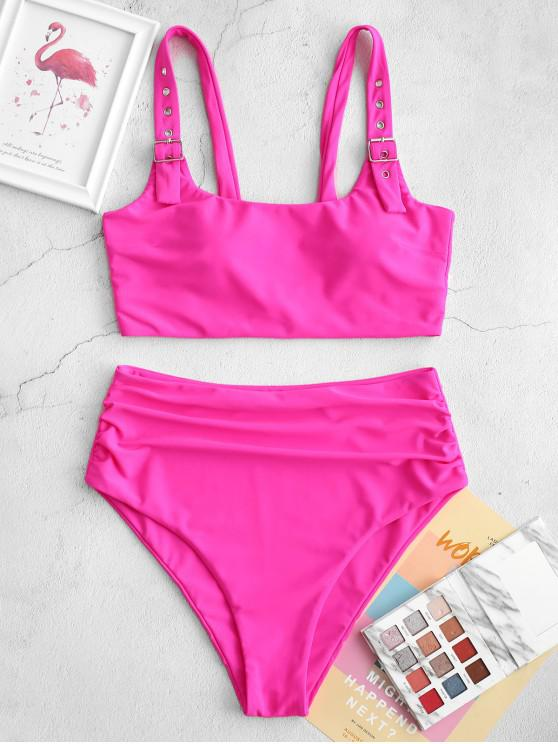chic ZAFUL Buckle Padded Tummy Control Tankini Swimsuit - ROSE RED S