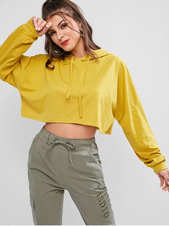 outfit Batwing Oversized Drop Shoulder Crop Hoodie - YELLOW ONE SIZE