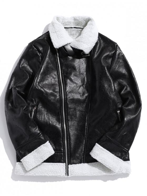 trendy Contrast Spliced Zipper Faux Fur False Leather Jacket - BLACK XS