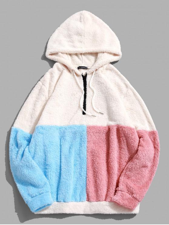 ZAFUL color de bloqueo de empalme La mitad de la cremallera con capucha Fuzzy - Blanco XL