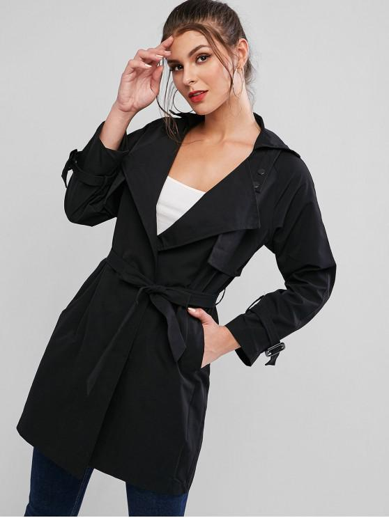 hot Turndown Collar Belted Pocket Tie Cuff Trench Coat - BLACK S