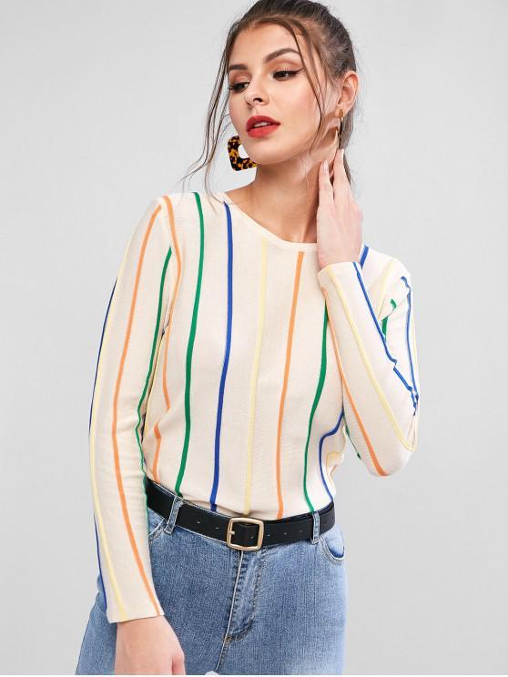 Круглый воротник Красочный полосатый принт Пуловер Свитер - Абрикосовый Один размер