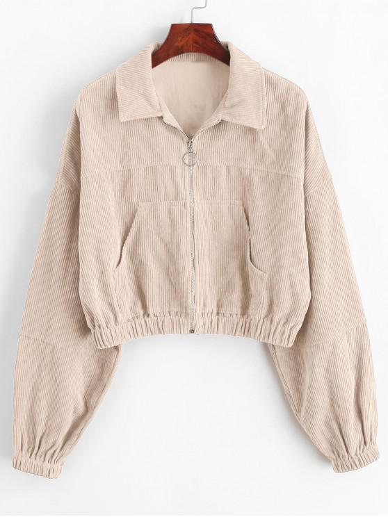 trendy ZAFUL Corduroy Pocket Pull Ring Drop Shoulder Jacket - APRICOT M