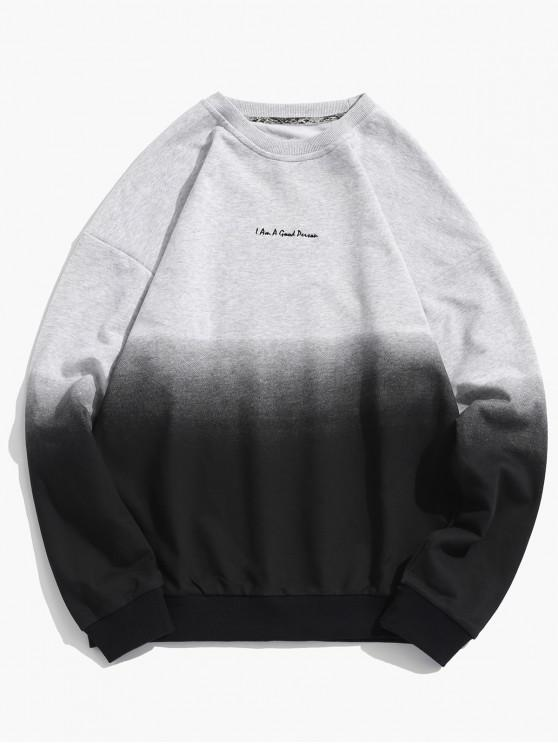 affordable ZAFUL Ombre Color Graphic Sweatshirt - GRAY GOOSE M