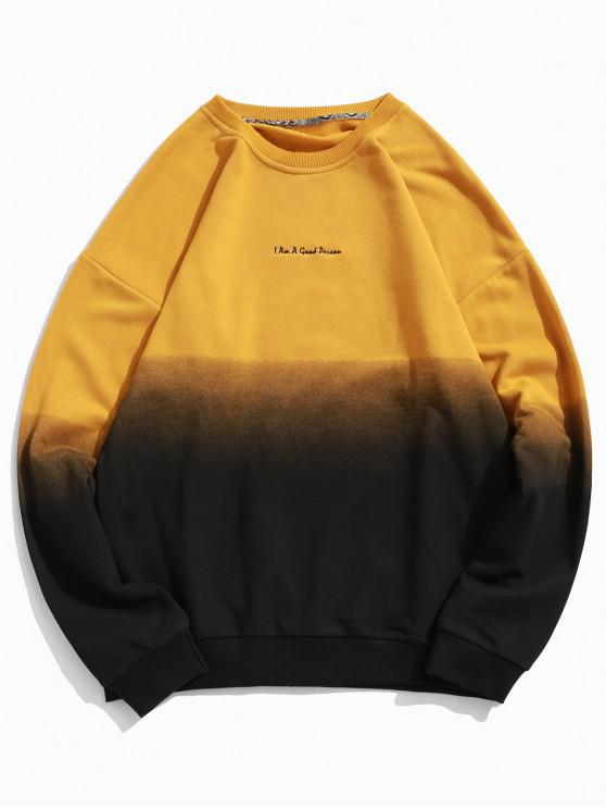 lady ZAFUL Ombre Color Graphic Sweatshirt - YELLOW M