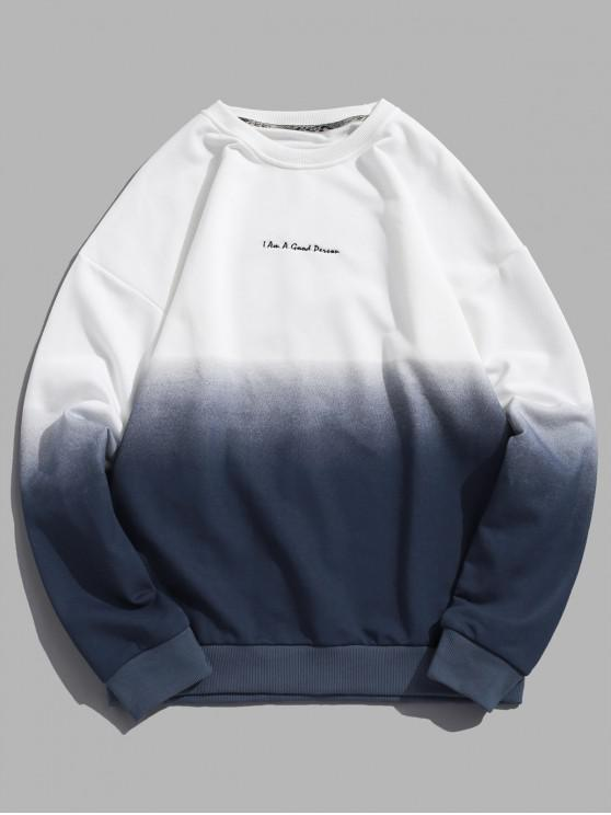 hot ZAFUL Ombre Color Graphic Sweatshirt - NAVY BLUE 2XL
