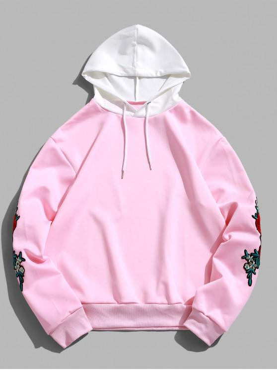 affordable ZAFUL Flower Embroidery Applique Sleeve Drawstring Hoodie - PINK S