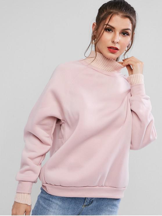 Sweat-shirt Tricoté Manches Raglan à Col Haut à Doublure en Laine - Rose  XL