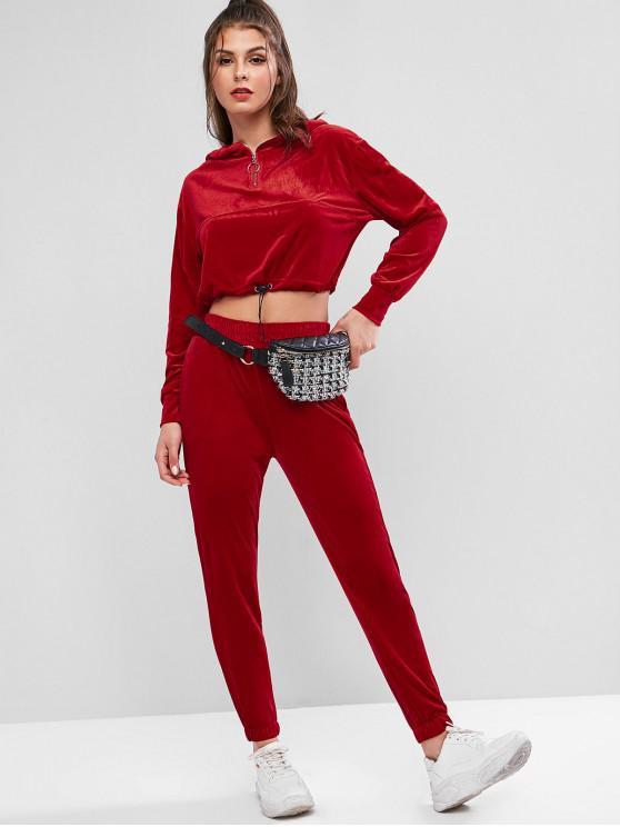 trendy Velvet Quarter Zip Hooded Two Piece Jogger Gym Set - RED L