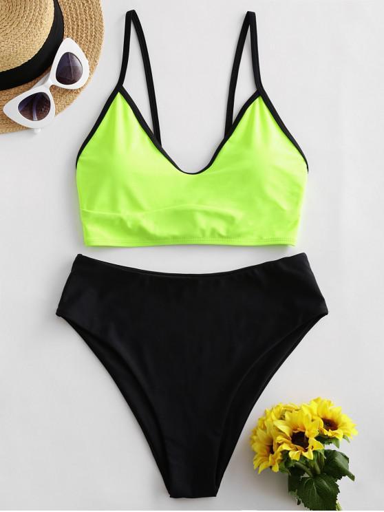 lady ZAFUL Colorblock Lace Up High Waisted Tankini Swimsuit - GREEN YELLOW L
