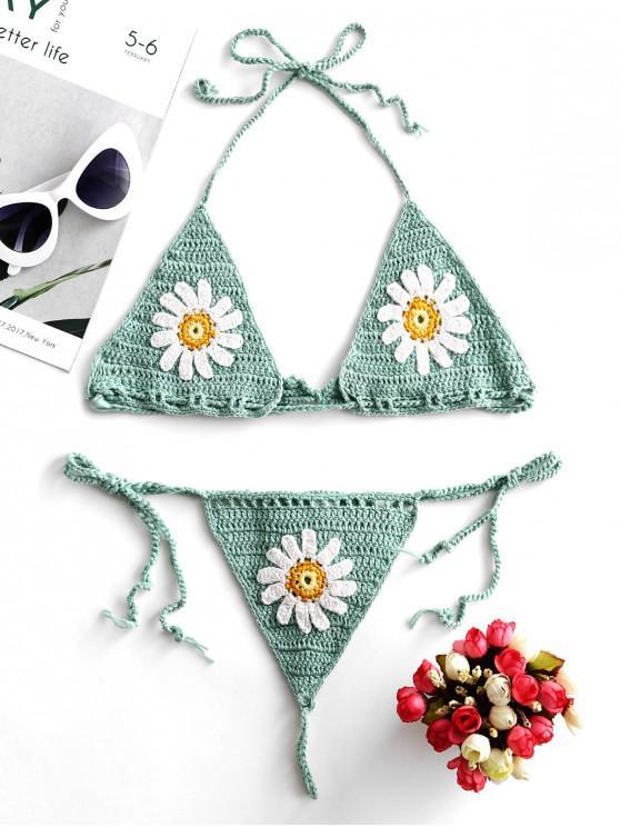Traje de baño de bikini de hilo de ganchillo floral halter - Verde de Mar  M