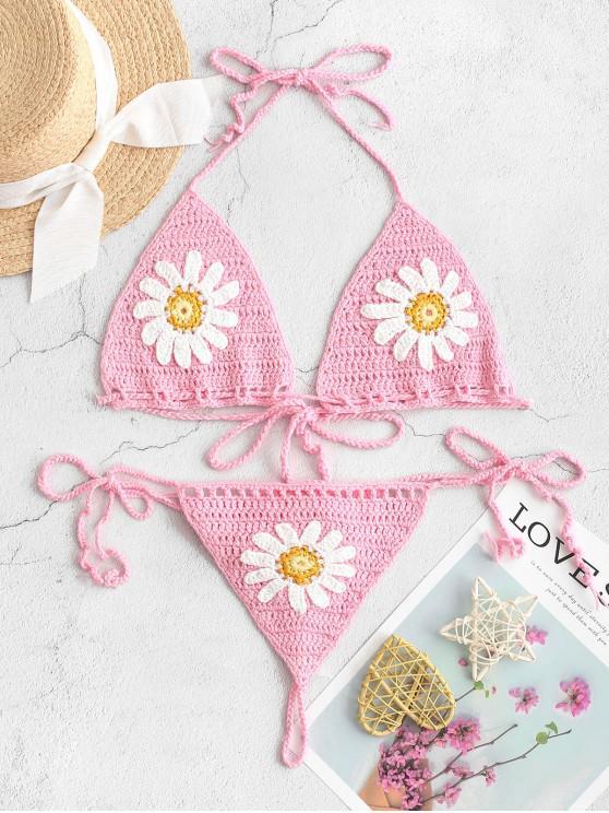 sale Halter Floral Crochet String Bikini Swimsuit - PIG PINK L