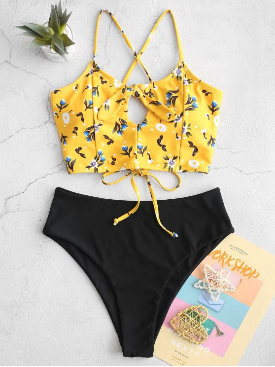 trendy ZAFUL Floral Knotted Criss Cross High Cut Tankini Swimsuit - RUBBER DUCKY YELLOW M