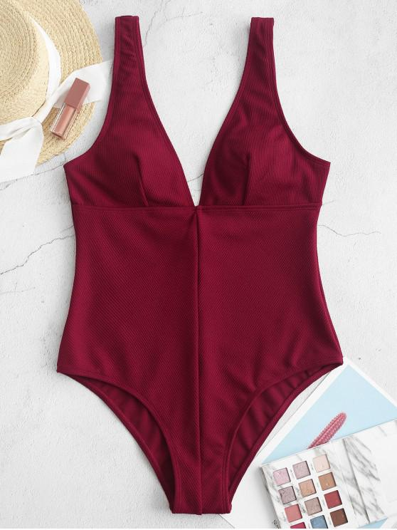 lady ZAFUL Plunge Ribbed One-piece Swimsuit - CHESTNUT S