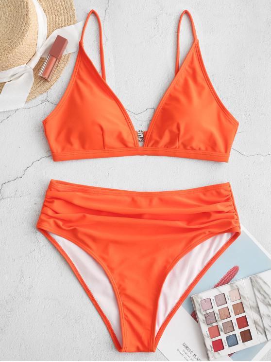 ladies ZAFUL Ruched High Waisted Bikini Swimsuit - PUMPKIN ORANGE L