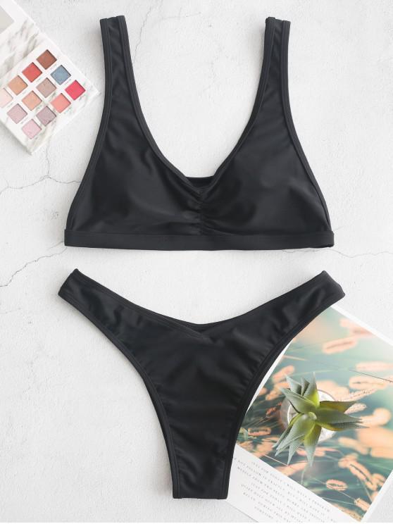 fancy ZAFUL Ruched Drop Armhole High Leg Bikini Swimsuit - BLACK M
