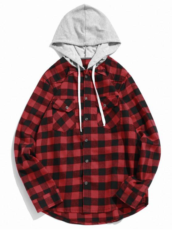 womens Plaid Pocket Curved Hem Contrast Color Spliced Hooded Shirt - RED S