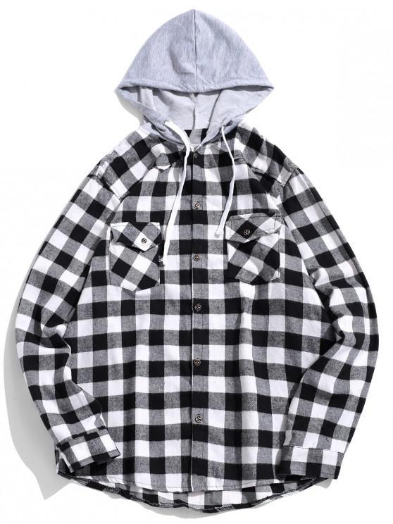 ladies Plaid Pocket Curved Hem Contrast Color Spliced Hooded Shirt - BLACK S