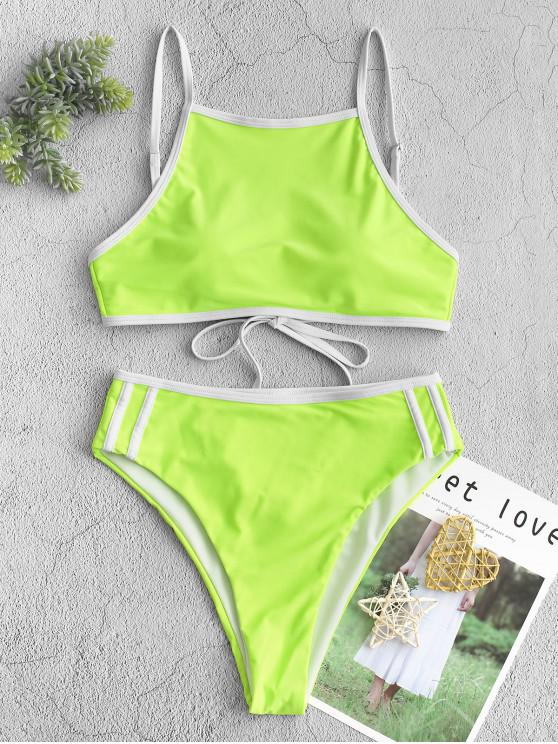 affordable ZAFUL Neon High Cut Piping Tankini Swimsuit - CHARTREUSE L