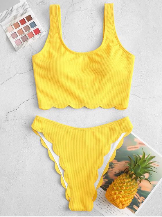 fashion ZAFUL Scalloped Ribbed High Cut Tankini Swimsuit - YELLOW 2XL
