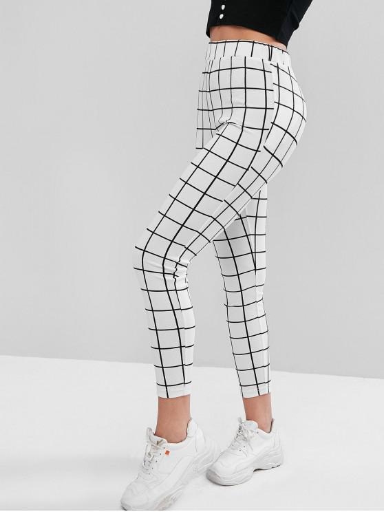 chic ZAFUL Checked Leggings - WHITE S