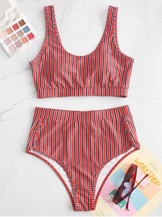 ZAFUL Striped ridicat Waisted căptușită Tankini Swimsuit - Multi-A S