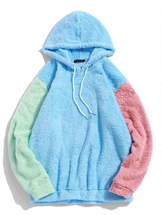 lady ZAFUL Color-blocking Splicing Fuzzy Pullover Hoodie - LIGHT SKY BLUE XL
