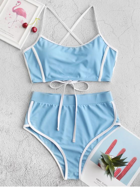 buy ZAFUL Piping Lace Up High Waisted Tankini Swimsuit - BLUE KOI S