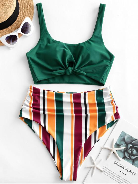 fashion ZAFUL Striped Tied Tummy Control Tankini Swimsuit - MEDIUM SEA GREEN L