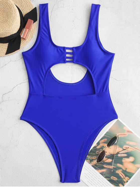women ZAFUL Ladder Cut Backless Cutout One-piece Swimsuit - COBALT BLUE L