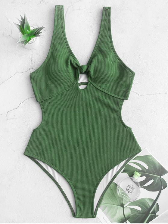 women ZAFUL Ribbed Knotted Cut Out One-piece Swimsuit - HAZEL GREEN M
