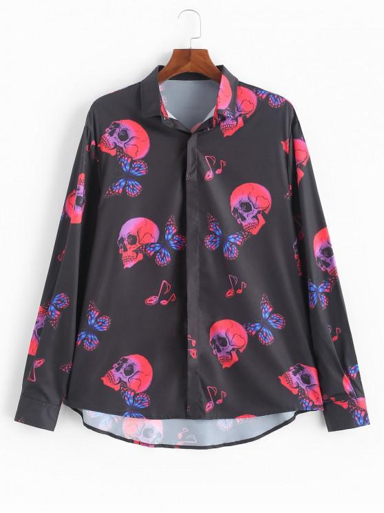 ladies Halloween Skull Butterfly Print Button Up Long Sleeve Shirt - BLACK L