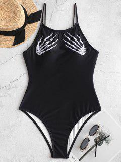 ZAFUL Halloween Skeleton Hand One-piece Backless Swimsuit - Black L