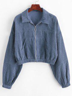ZAFUL Corduroy Pocket Pull Ring Drop Shoulder Jacket - Slate Blue L